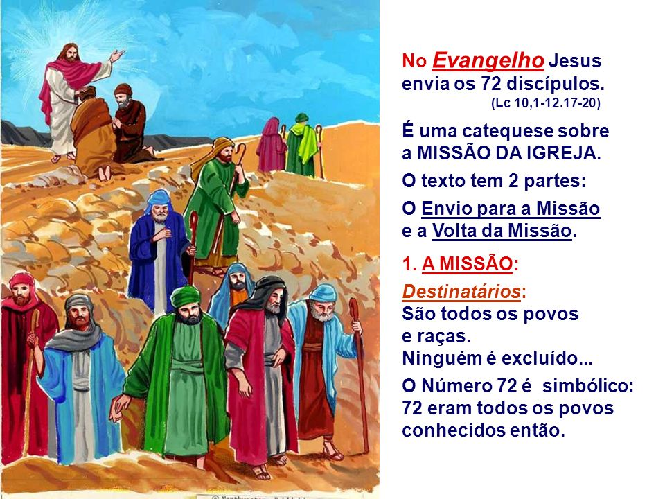 No Evangelho Jesus envia os 72 discípulos.