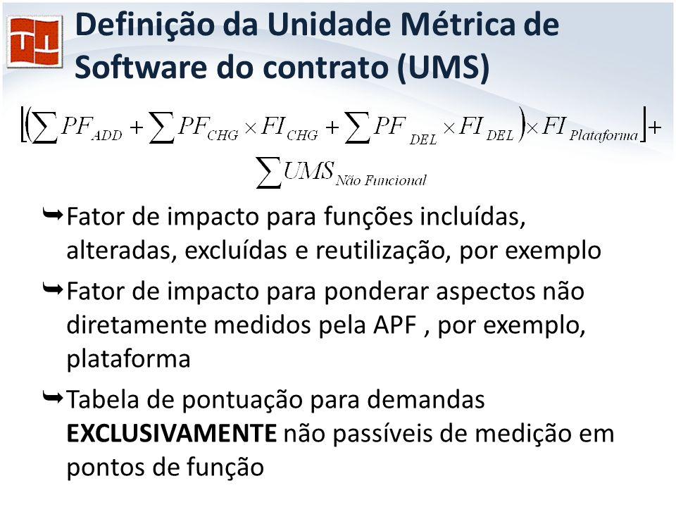 Definição da Unidade Métrica de Software do contrato (UMS)