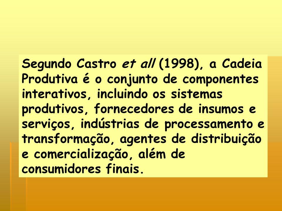 Segundo Castro et all (1998), a Cadeia Produtiva é o conjunto de componentes interativos, incluindo os sistemas produtivos, fornecedores de insumos e serviços, indústrias de processamento e transformação, agentes de distribuição e comercialização, além de consumidores finais.