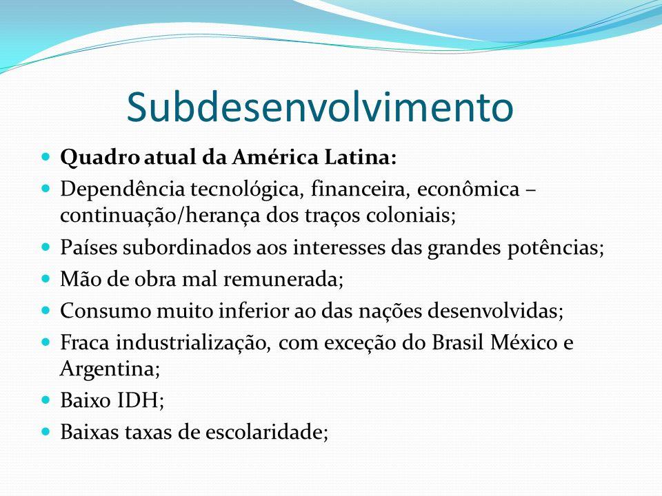 Subdesenvolvimento Quadro atual da América Latina: