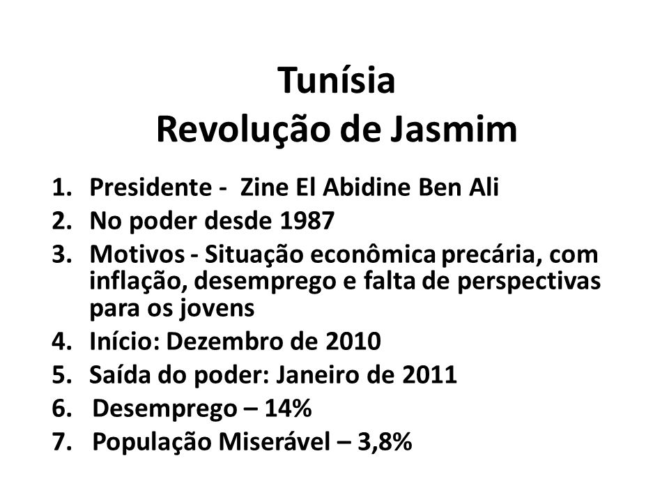Tunísia Revolução de Jasmim