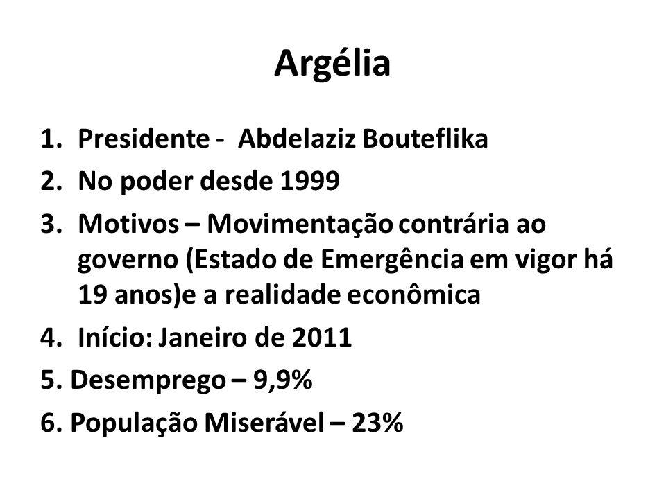 Argélia Presidente - Abdelaziz Bouteflika No poder desde 1999