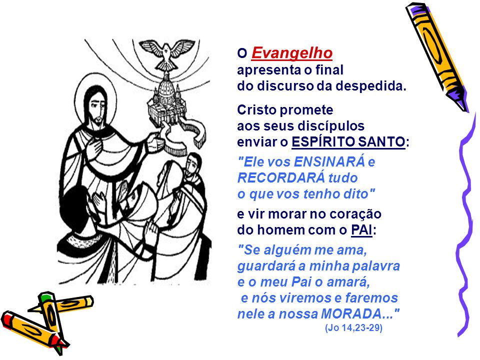 do discurso da despedida. Cristo promete aos seus discípulos