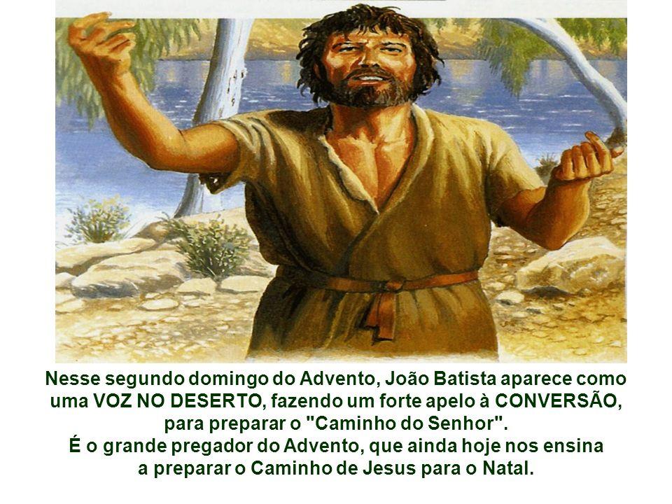 Nesse segundo domingo do Advento, João Batista aparece como uma VOZ NO DESERTO, fazendo um forte apelo à CONVERSÃO, para preparar o Caminho do Senhor .