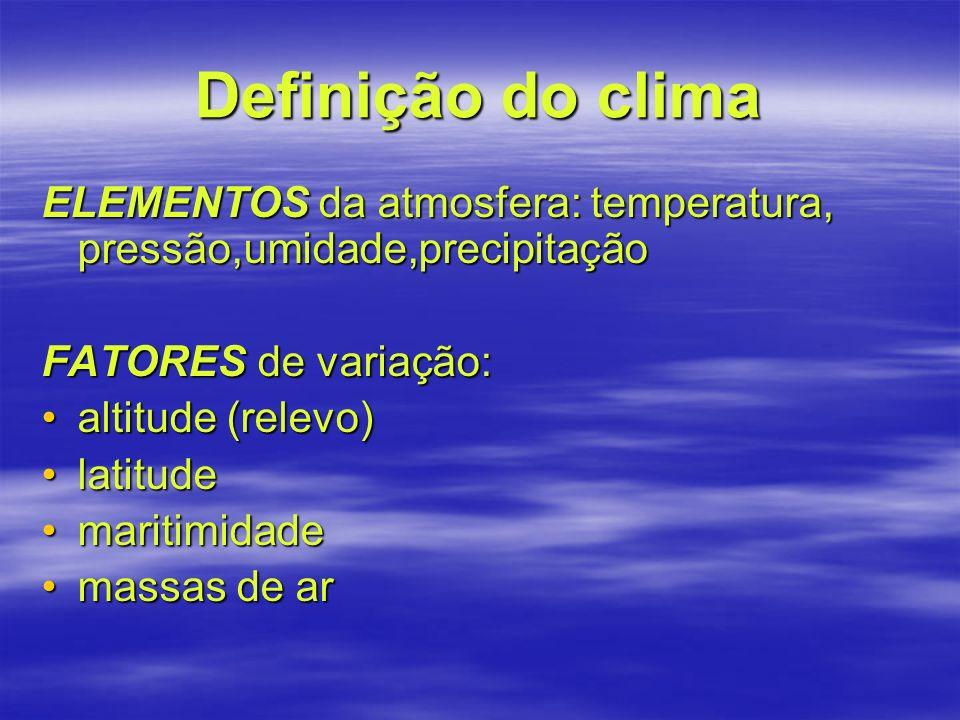 Definição do clima ELEMENTOS da atmosfera: temperatura, pressão,umidade,precipitação. FATORES de variação: