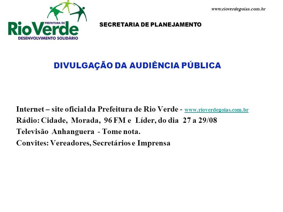 SECRETARIA DE PLANEJAMENTO DIVULGAÇÃO DA AUDIÊNCIA PÚBLICA
