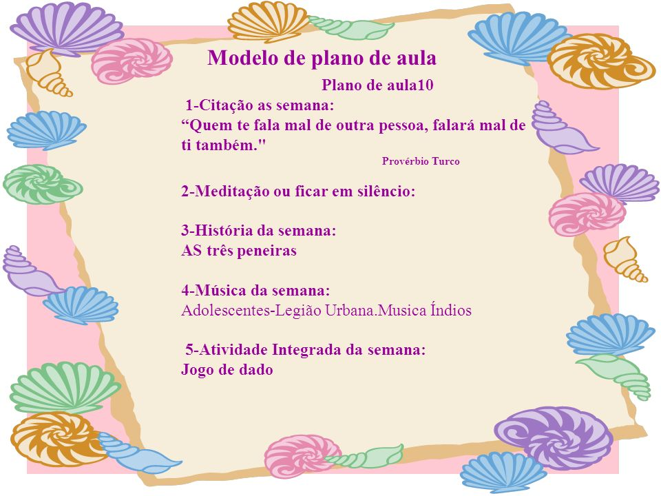 Modelo de plano de aula Plano de aula10 1-Citação as semana: