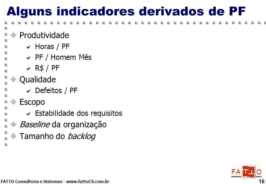 Alguns indicadores derivados de PF