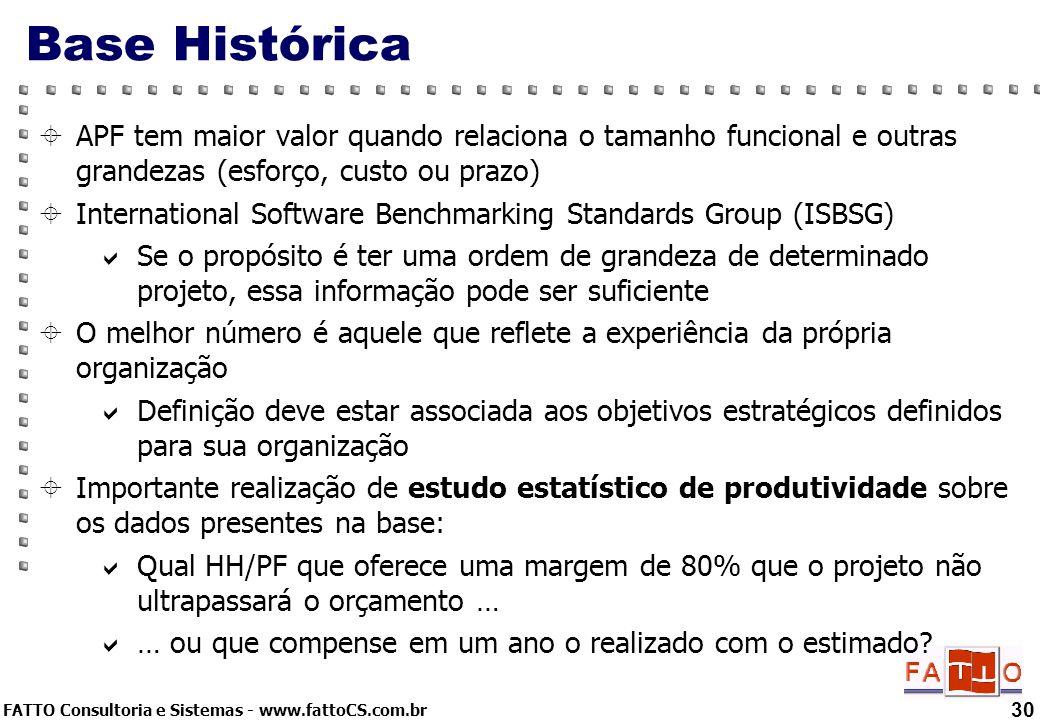 Base Histórica APF tem maior valor quando relaciona o tamanho funcional e outras grandezas (esforço, custo ou prazo)