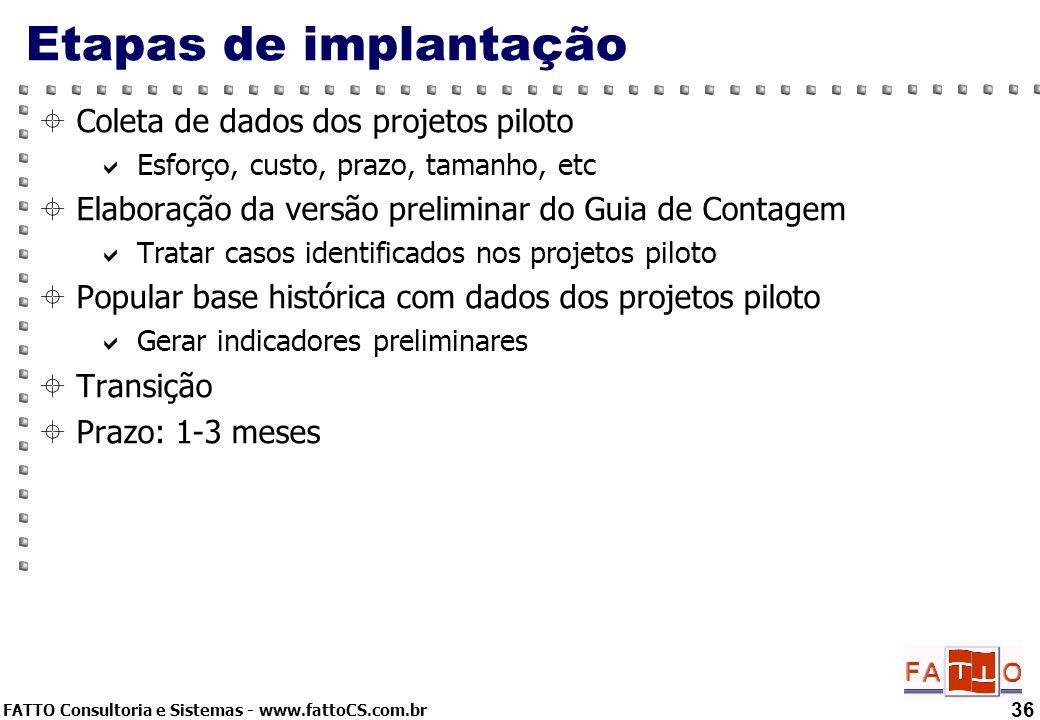Etapas de implantação Coleta de dados dos projetos piloto