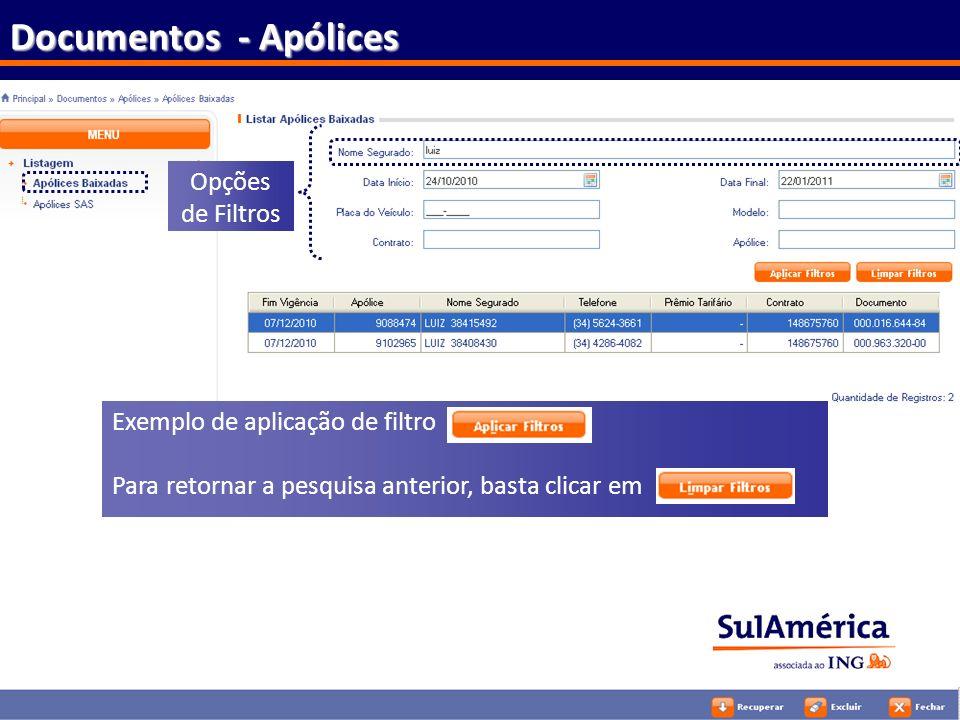 Documentos - Apólices Opções de Filtros Exemplo de aplicação de filtro