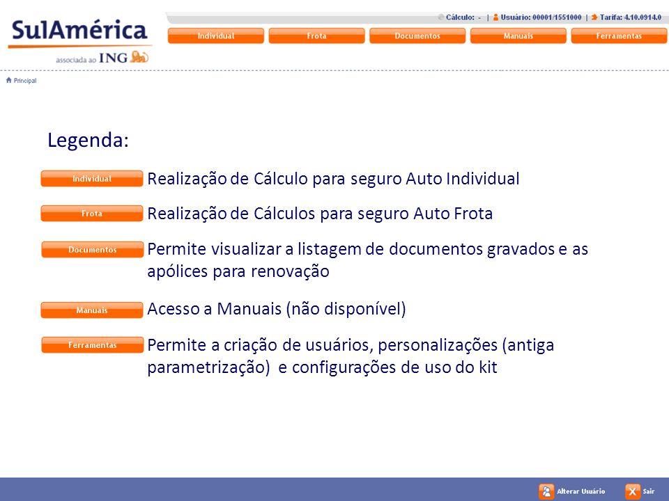 Legenda: Realização de Cálculo para seguro Auto Individual