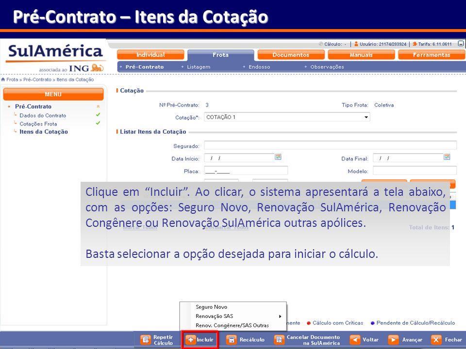 Pré-Contrato – Itens da Cotação