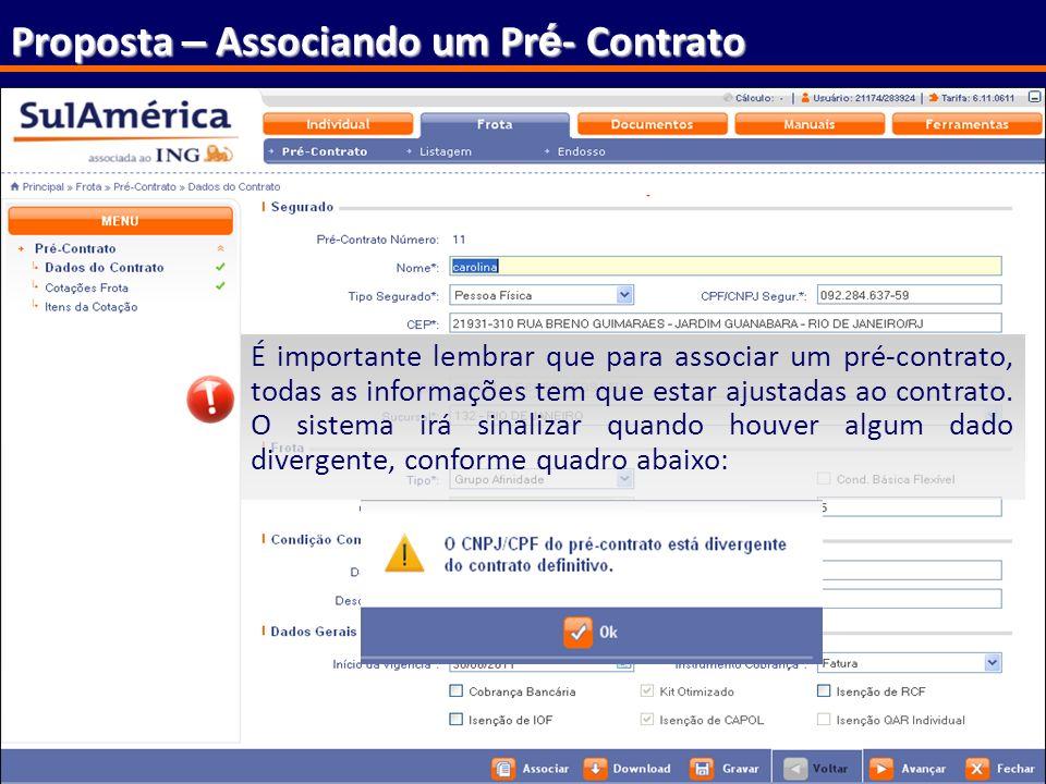 Proposta – Associando um Pré- Contrato