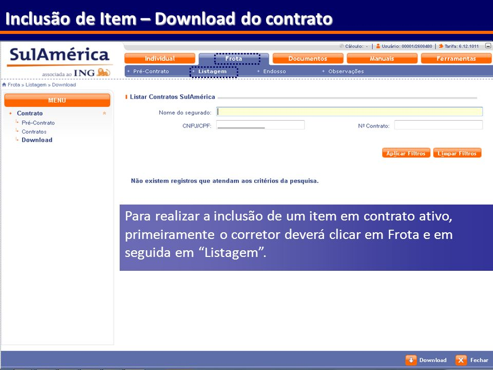Inclusão de Item – Download do contrato