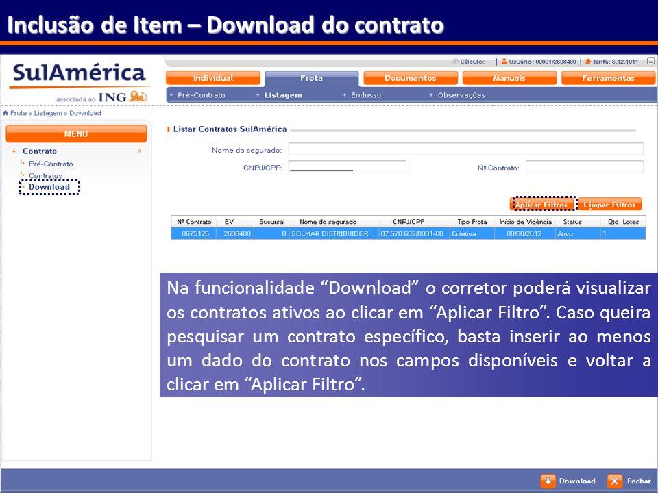 Inclusão de Item – Download do contrato