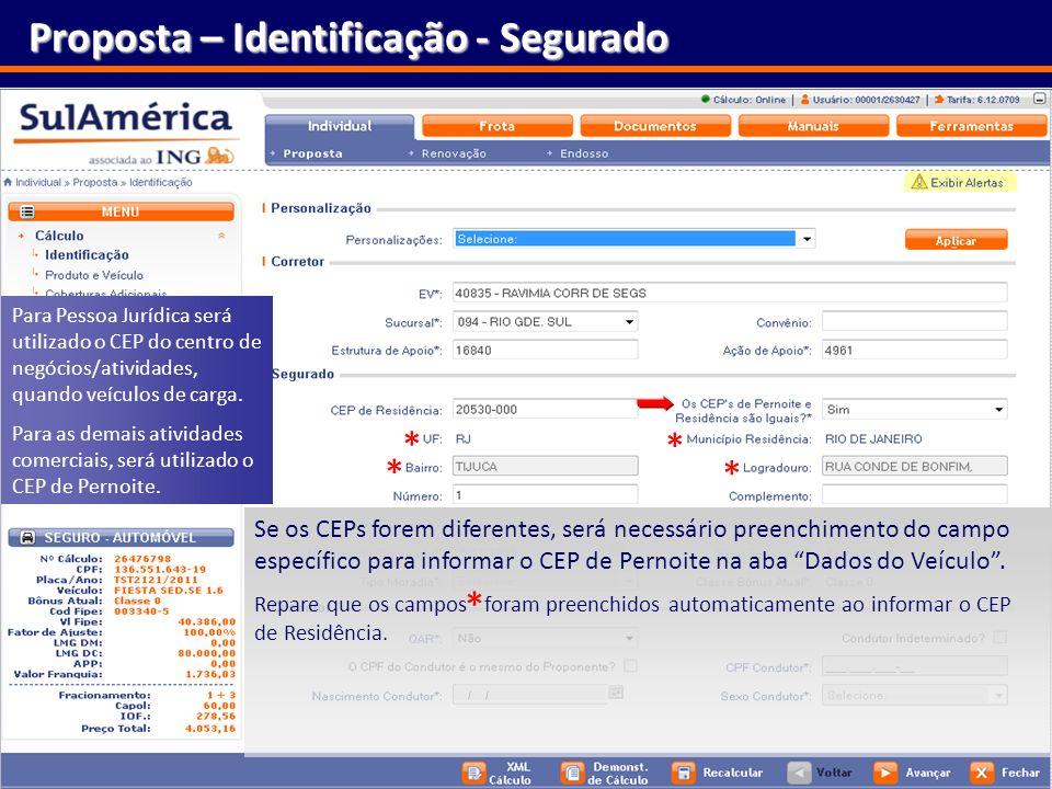 Proposta – Identificação - Segurado