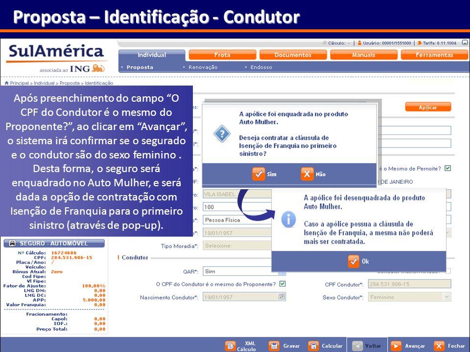Proposta – Identificação - Condutor
