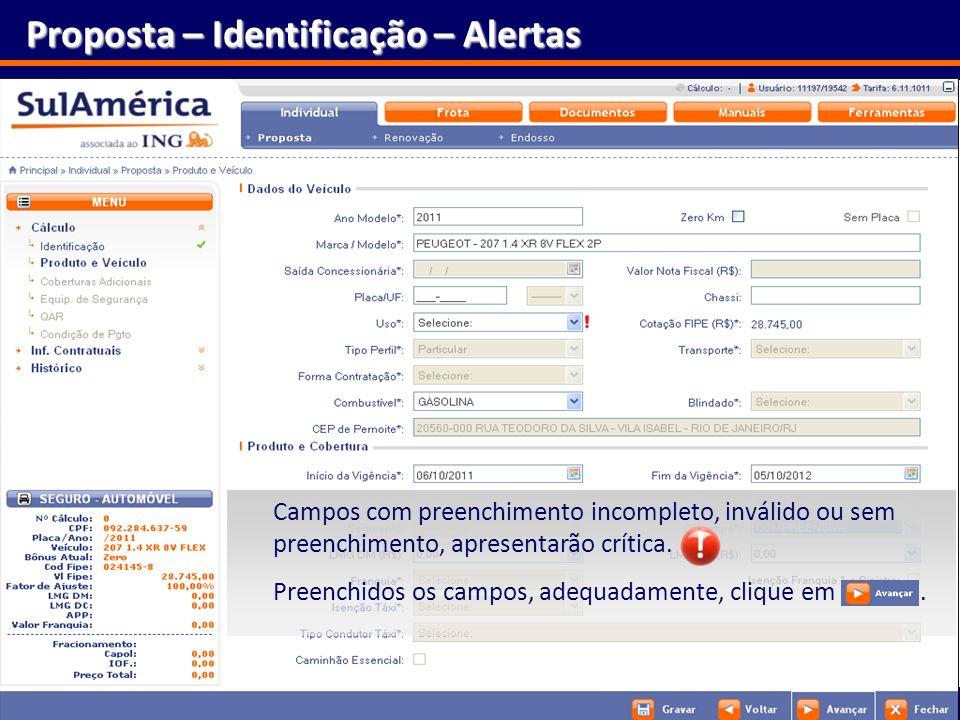 Proposta – Identificação – Alertas