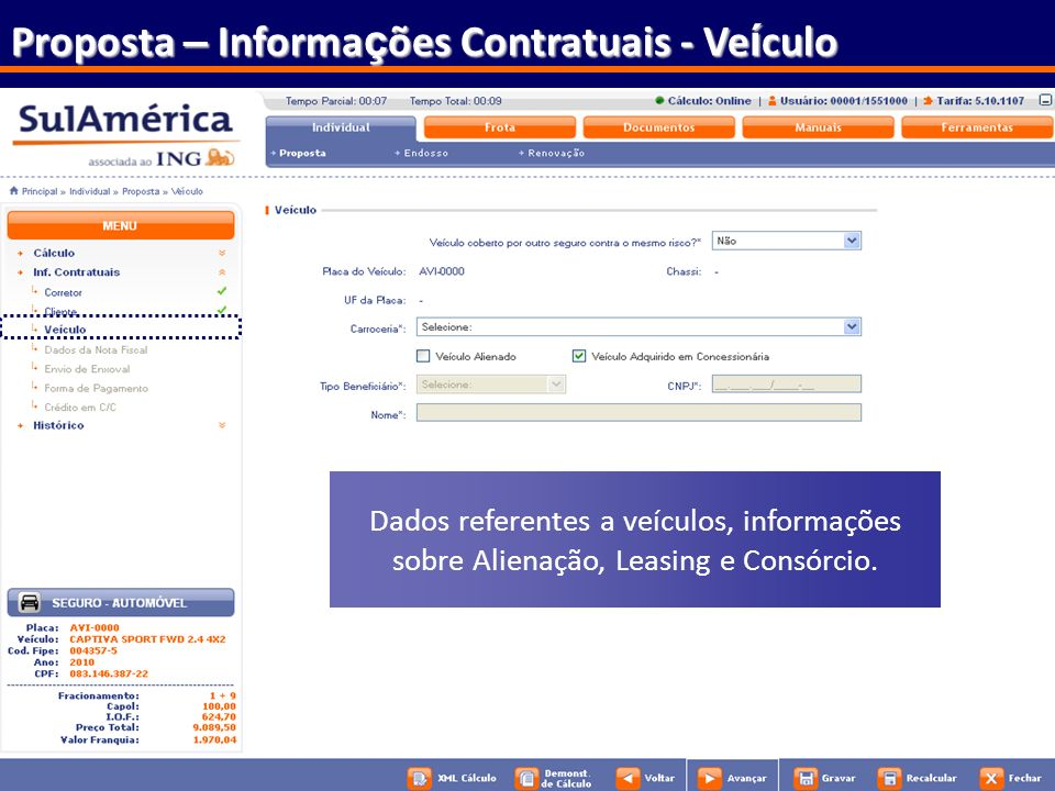 Proposta – Informações Contratuais - Veículo