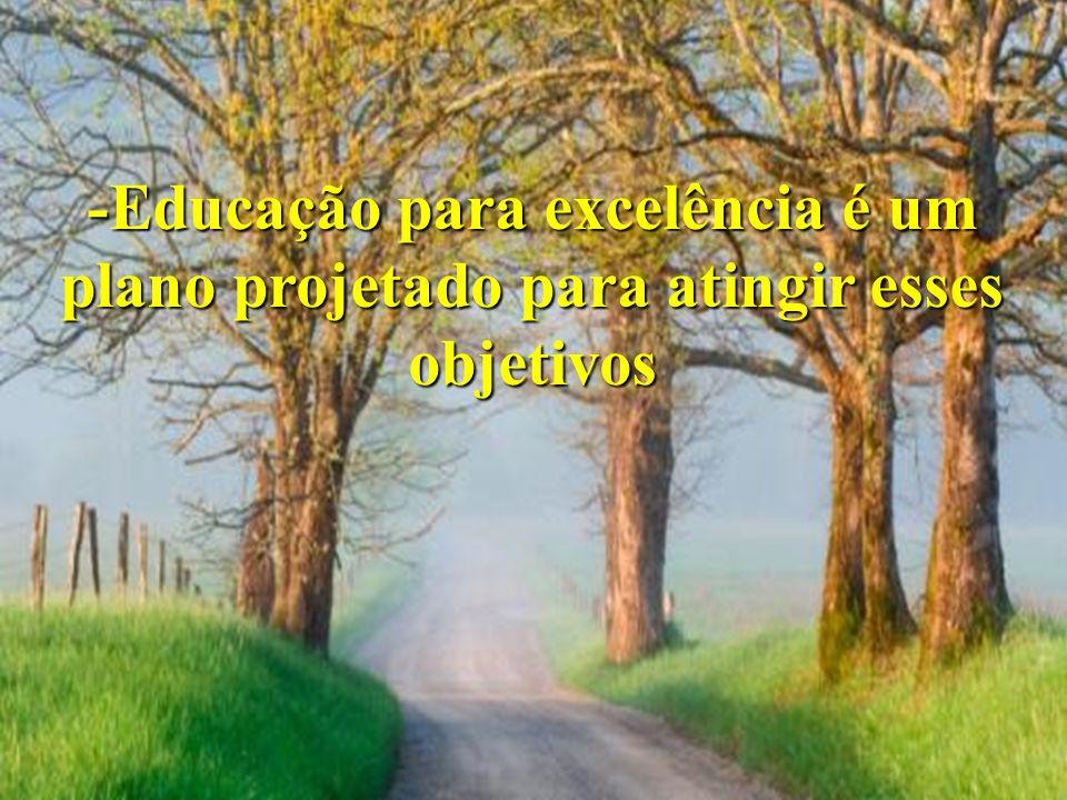 -Educação para excelência é um plano projetado para atingir esses objetivos