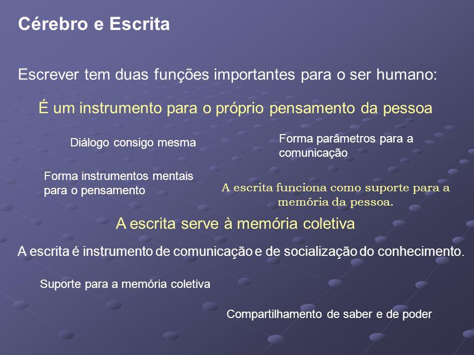 Cérebro e Escrita Escrever tem duas funções importantes para o ser humano: É um instrumento para o próprio pensamento da pessoa.