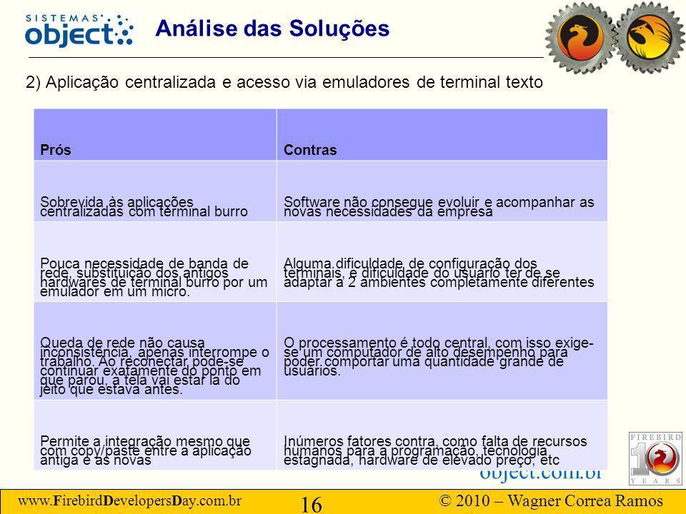 Análise das Soluções 2) Aplicação centralizada e acesso via emuladores de terminal texto. Prós. Contras.