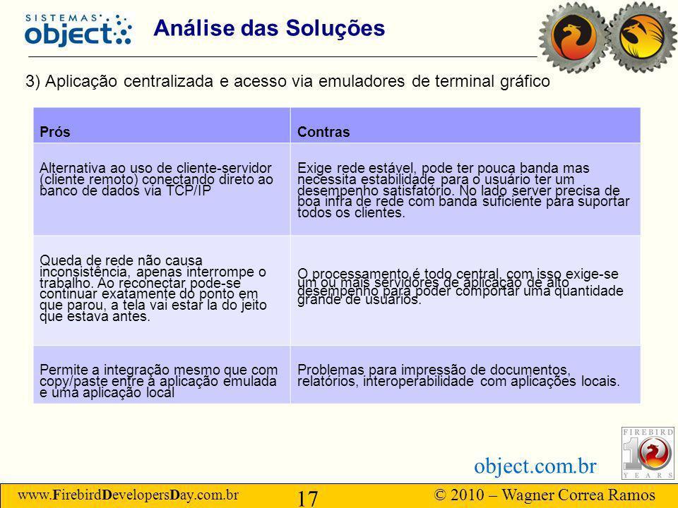 Análise das Soluções 3) Aplicação centralizada e acesso via emuladores de terminal gráfico. Prós. Contras.