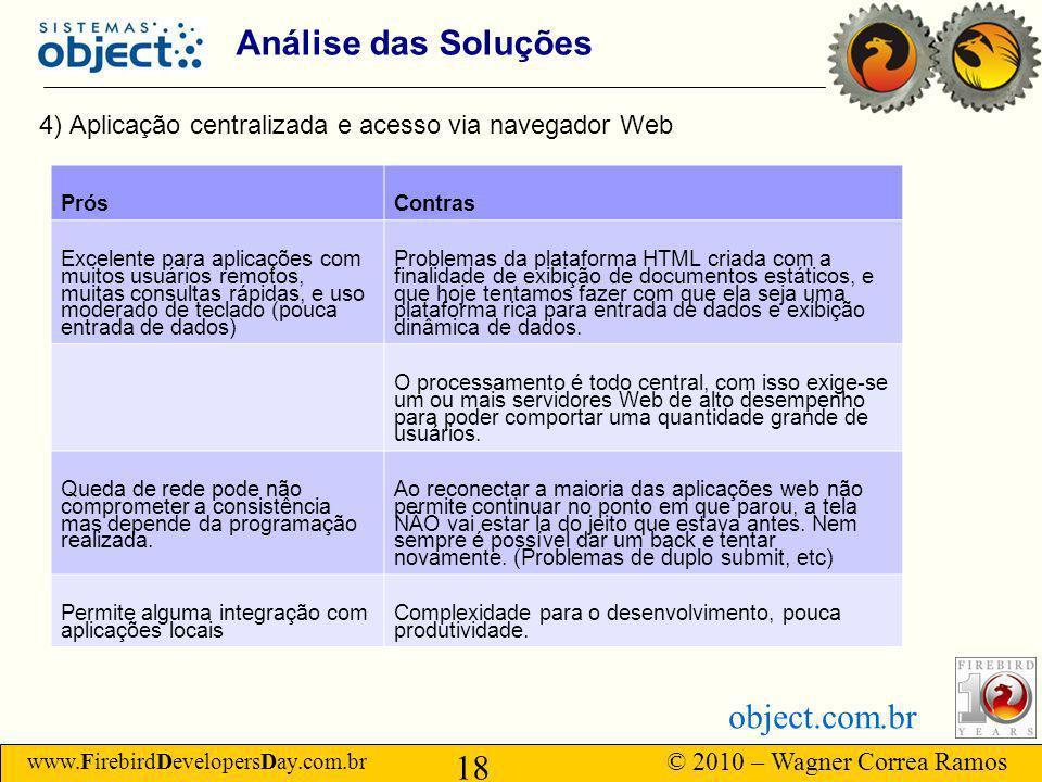 Análise das Soluções 4) Aplicação centralizada e acesso via navegador Web. Prós. Contras.