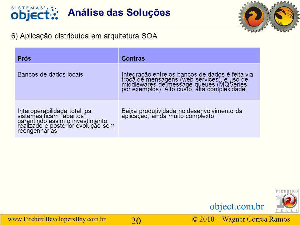 Análise das Soluções 6) Aplicação distribuída em arquitetura SOA Prós