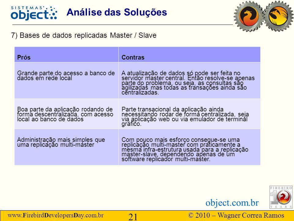 Análise das Soluções 7) Bases de dados replicadas Master / Slave Prós
