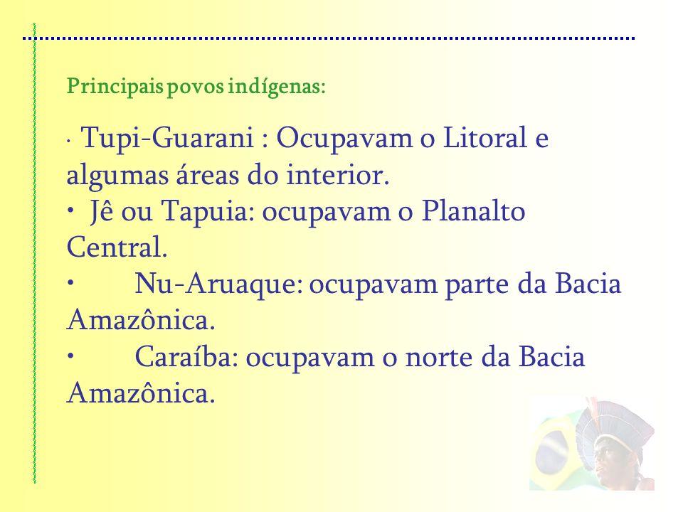 Jê ou Tapuia: ocupavam o Planalto Central.