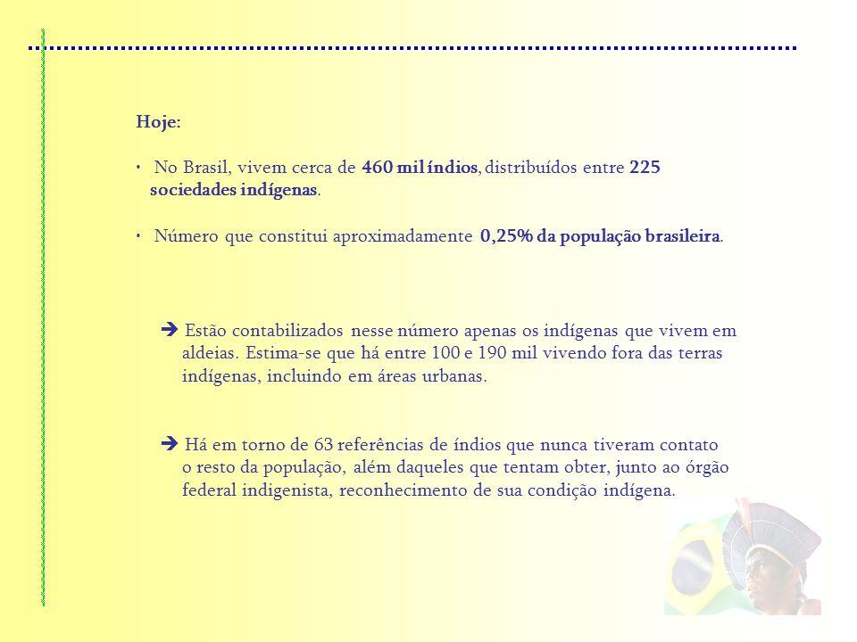 Hoje: No Brasil, vivem cerca de 460 mil índios, distribuídos entre 225 sociedades indígenas.