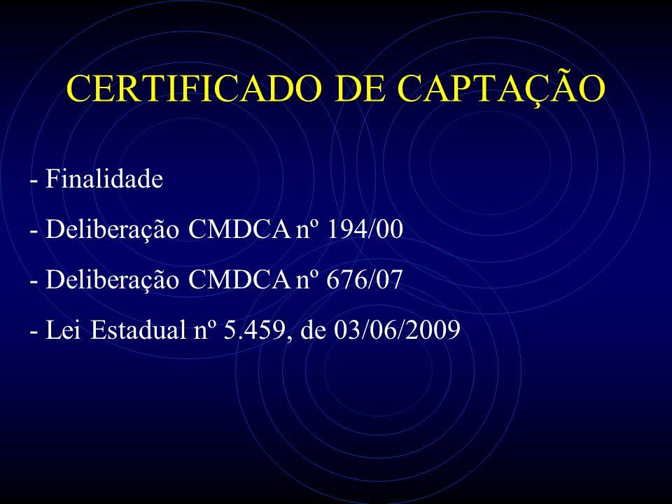 CERTIFICADO DE CAPTAÇÃO