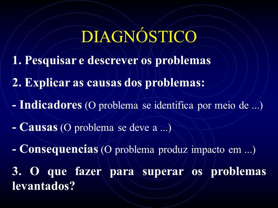 DIAGNÓSTICO 1. Pesquisar e descrever os problemas