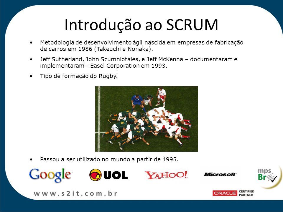 Introdução ao SCRUM Metodologia de desenvolvimento ágil nascida em empresas de fabricação de carros em 1986 (Takeuchi e Nonaka).