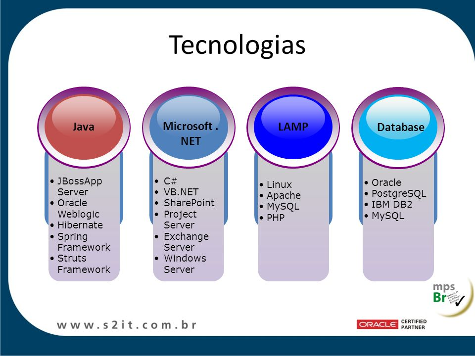 Tecnologias Java Microsoft .NET LAMP Database JBossApp Server