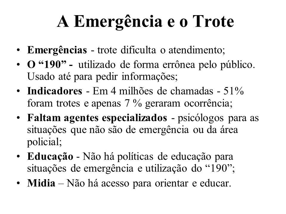 A Emergência e o Trote Emergências - trote dificulta o atendimento;