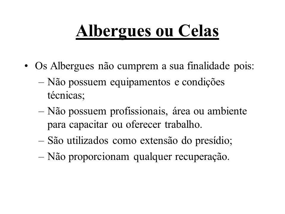 Albergues ou Celas Os Albergues não cumprem a sua finalidade pois: