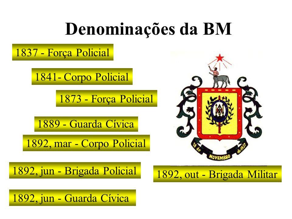 Denominações da BM 1837 - Força Policial 1841- Corpo Policial