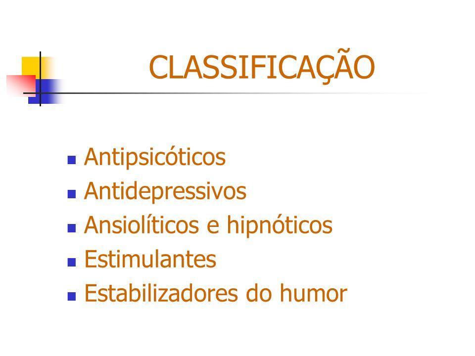 CLASSIFICAÇÃO Antipsicóticos Antidepressivos Ansiolíticos e hipnóticos