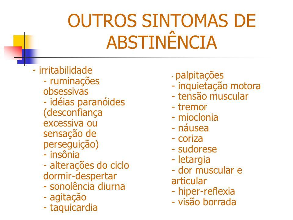 OUTROS SINTOMAS DE ABSTINÊNCIA