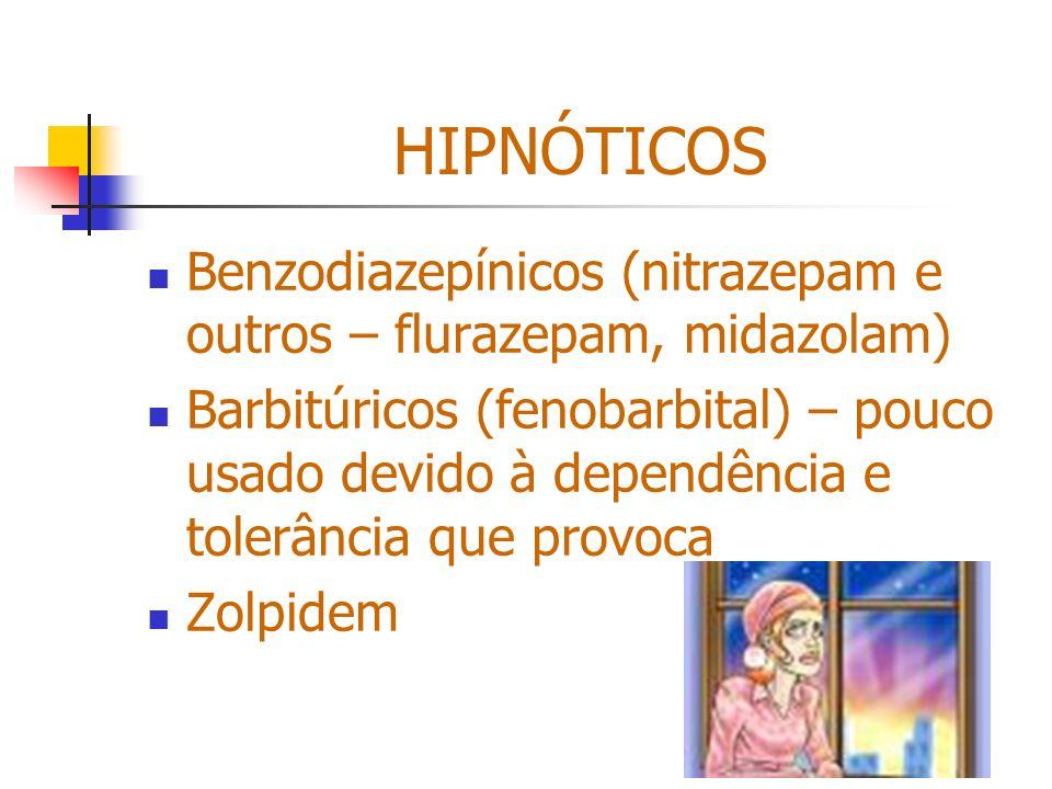 HIPNÓTICOS Benzodiazepínicos (nitrazepam e outros – flurazepam, midazolam)