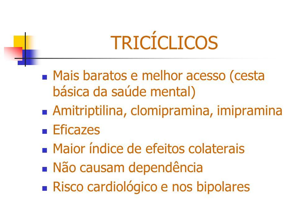 TRICÍCLICOS Mais baratos e melhor acesso (cesta básica da saúde mental) Amitriptilina, clomipramina, imipramina.