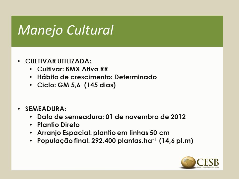Manejo Cultural CULTIVAR UTILIZADA: Cultivar: BMX Ativa RR