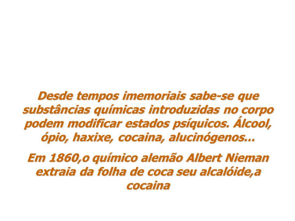Desde tempos imemoriais sabe-se que substâncias químicas introduzidas no corpo podem modificar estados psíquicos. Álcool, ópio, haxixe, cocaina, alucinógenos...