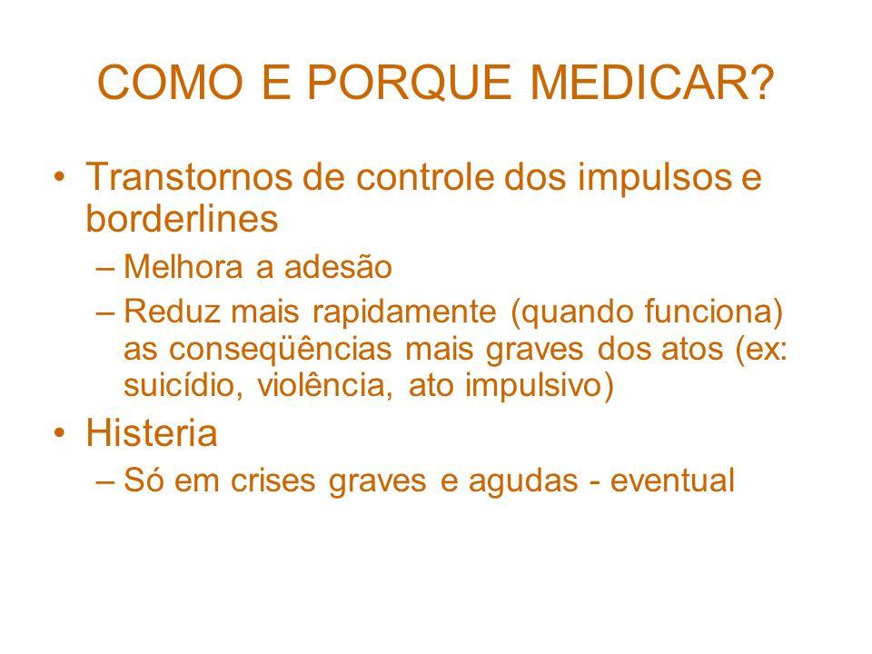 COMO E PORQUE MEDICAR Transtornos de controle dos impulsos e borderlines. Melhora a adesão.