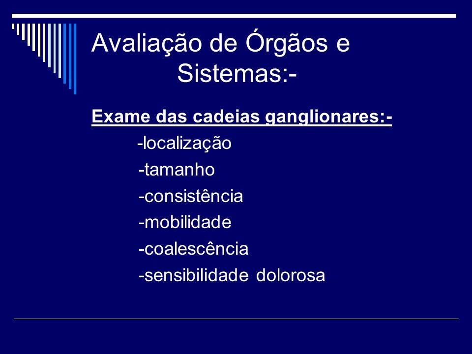 Avaliação de Órgãos e Sistemas:-