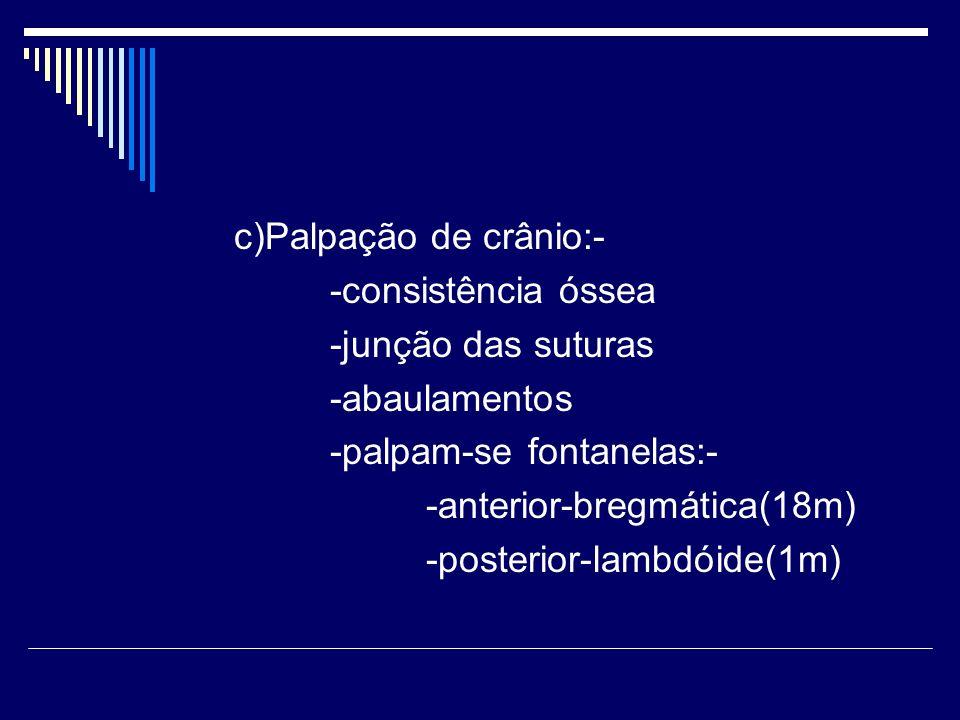 c)Palpação de crânio:-