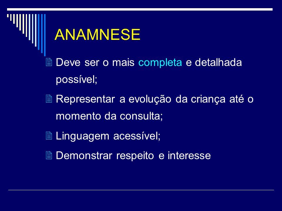 ANAMNESE  Deve ser o mais completa e detalhada possível;